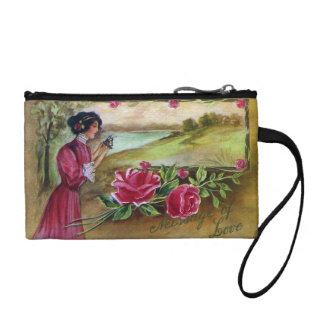 Women with Roses and Pansies Change Purse