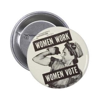 WOMEN WORK WOMEN VOTE Button Badge
