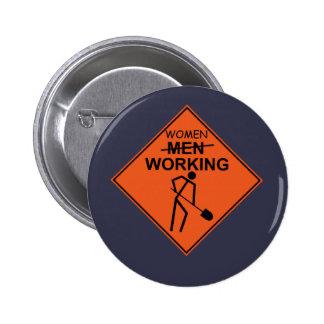 Women Working 6 Cm Round Badge