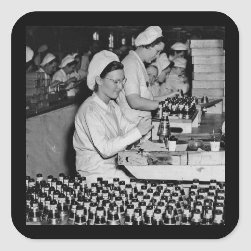 Women Working in Munitions Plant WWII Square Stickers