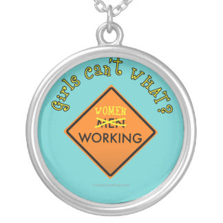 Women Working Road Sign Round Pendant Necklace