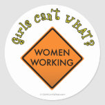 Women Working Road Sign Round Sticker