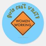 Women Working Sign Round Sticker