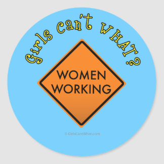 Women Working Sign Round Sticker