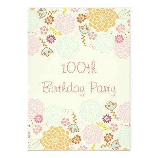 Womens' 100th Birthday Fancy Modern Floral 13 Cm X 18 Cm Invitation Card