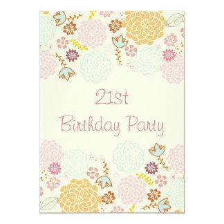 Womens' 21st Birthday Fancy Modern Floral 13 Cm X 18 Cm Invitation Card