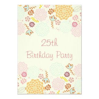 Womens' 25th Birthday Fancy Modern Floral 13 Cm X 18 Cm Invitation Card
