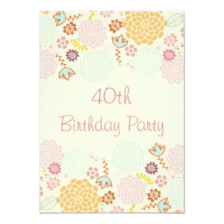 Womens' 40th Birthday Fancy Modern Floral 13 Cm X 18 Cm Invitation Card