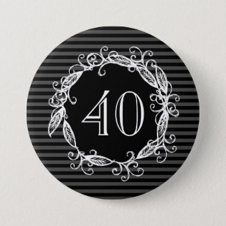 Women's 40th Birthday Grey White Black Swirly 7.5 Cm Round Badge