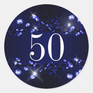 Women's 50th Birthday Blue Black Sparkly Diamond Round Sticker