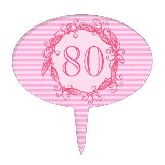 Women's 80th Birthday Beautiful Pink Swirly Cake Pick