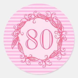 Women's 80th Birthday Beautiful Pink Swirly Round Sticker