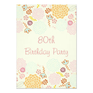 Womens' 80th Birthday Fancy Modern Floral 13 Cm X 18 Cm Invitation Card