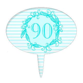 Women's 90th Birthday Aqua Blue White Swirly Cake Pick