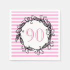 Women's 90th Birthday Pink White Black Swirly Disposable Napkin