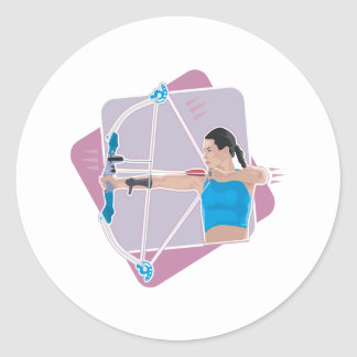 Womens Archery Classic Round Sticker