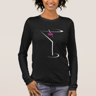 Women's bartending apparel Martini Pink Olive Long Sleeve T-Shirt