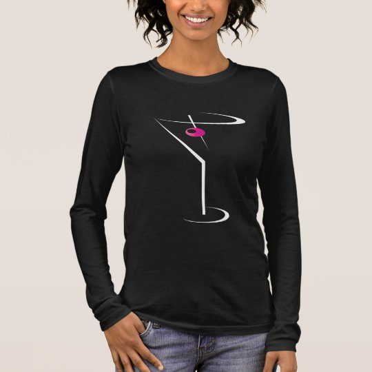 Women's bartending apparel Martini Pink Olive Long Sleeve