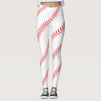 Women's Baseball Stitches (Seams) White Leggings