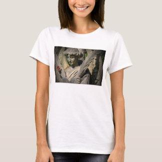 Women's Basic T-Shirt, White, Angel & Flowers T-Shirt