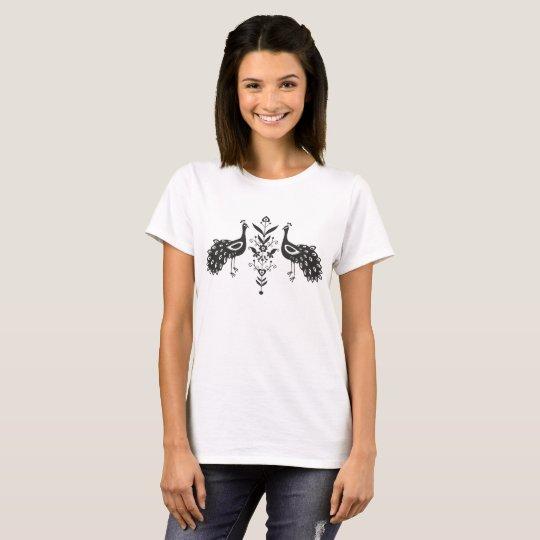 Women's Basic T-Shirt, White - folk peacocks T-Shirt