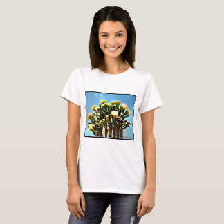 Women's Basic Tee Shirt - Spring Saguaro Blooms