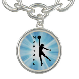 Women's Basketball Design Charm Bracelet