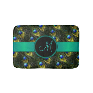 Women's Beautiful Fantasy Sparkly Peacock Feather Bath Mat