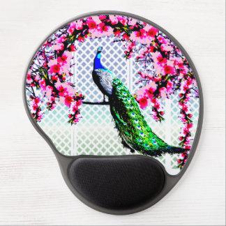 Women's Beautiful Peacock Cherry Blossom Gel Mouse Mat