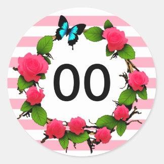 Womens Beautiful Rose 50th 60th 70th 80th Birthday Round Sticker