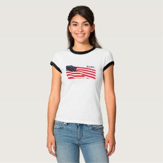 Women's Bella Ringer U.S. Flag Resist T-Shirt
