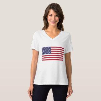 Women's BellaCanvas Relaxed Flag V-Neck T-Shirt