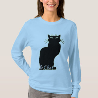 Women's Black Cat Shirt le Chat Ladies Cat Top