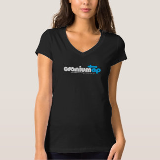 Women's Black CraniumTap T-Shirt (V-neck)