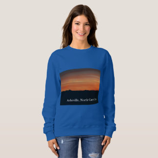 Women's Blue Sweatshirt with Sunset Scene