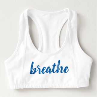 Women's Breathe Blue Font Sports Bra