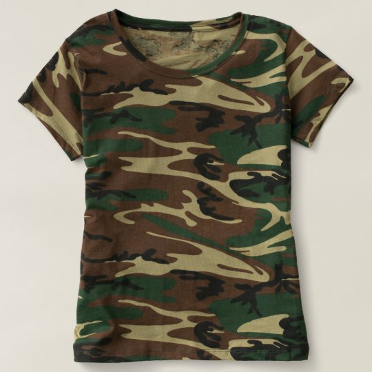 Women's Camouflage T-Shirt, Green Woodland