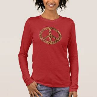 Womens Cheetah Peace Sign T-Shirt - Customized