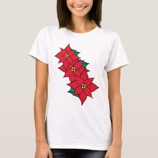 Women's Christmas Poinsettia Holiday T-Shirt Top