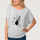 Women's Circle Top White Guitar and Music Notes