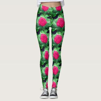 Womens Custom Leggings, Red Peonie Leggings