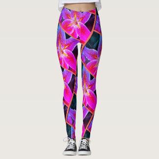 Women's Custom Leggings, Stargazer Lily Pattern Leggings