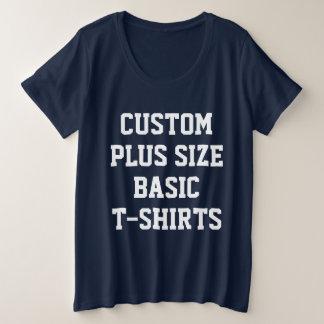 Women's Custom Plus Size Basic T-Shirt NAVY BLUE
