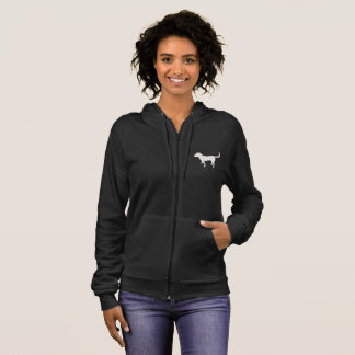 Womens Dark Fleece Zip Hoodie Black Lab Silhouette