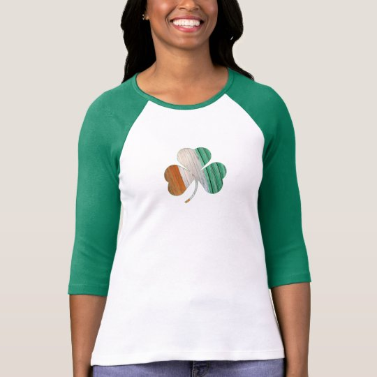 Women's Distressed Irish Flag Shamrock Ringer T-Shirt