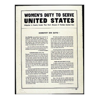 Women's Duty To Serve United States Full Color Flyer