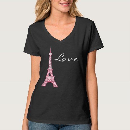 Women's Eiffel Tower Love T-Shirt Top Gift