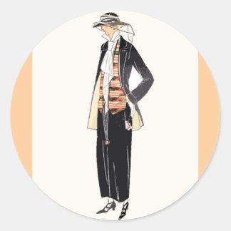 Women's Fashion 1920s Deco Pochoir Round Sticker