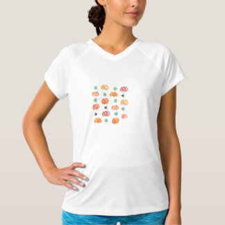 Women's fitted sports T-shirt with pumpkins