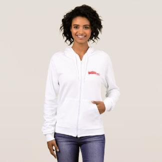 Women's Fleece Zip Hoodie, White with Red Logo Hoodie